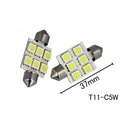 Coppia 2 Lampade Led T11 C5W Siluro 37mm Con 6 Smd 5050 Colore Bianco Freddo 6000K 12V 2W