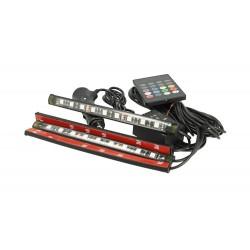 Kit Striscia Barra Led RGB 4X18cm 12V Telecomando IR Sensore Voce Musica Controllo IP67 Per Decorazione Auto Interno Esterno
