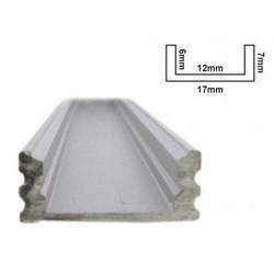Profilo Canalina Barra Alluminio Led Anodizzato Super Slim Quadrato Per Striscia Bobina Led Fino a 12mm 1 Metro