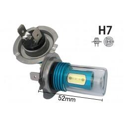 Coppia 2 Lampade Led H7 Con 1 Smd Cree 5W Frontale + 4 Power Led Da 2W Bianco Freddo 6000K 12V 13W Per Fendinebbia