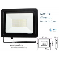 Faro Led Flood Light Slim 100W IP65 Bianco Neutro Carcassa Nera Sensore PIR Opzionale CL1918