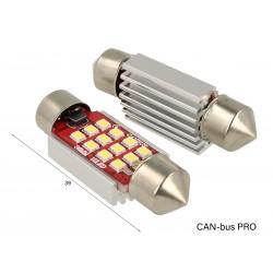 Lampada Led Siluro Canbus Pro 39mm 12 Smd 2016 No Errore CC 12V 3W No Polarita Super Luminoso