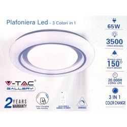 Plafoniera Led Rotonda 65W CCT Cambia Colore 3 in 1 Dimmerabile Con Telecomando Diametro 480mm SKU-7601