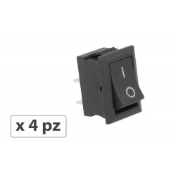4 PZ Interruttore Pulsante Bilanciere Quadrato Bipolare 12V Push Button Switch 2 Pin Auto Barca Foro 12X19mm