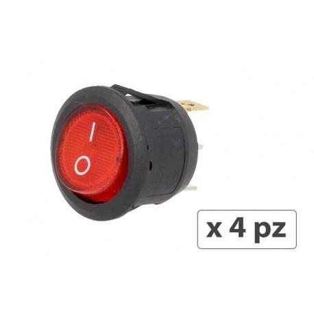 4 PZ Interruttore Rotondo Pulsante Bilanciere On Off Push Button Switch 3 Pin Con Indicatore Led Spia Rosso 12V Auto Barca Foro