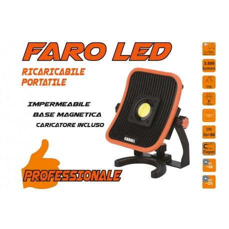Proiettore Faro Led Flood Professionale 30W Ricaricabile e Cavo 5 Metri Dual System Base Magnetica Batteria Estraibile Utilizza