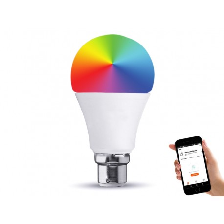 Lampada Led Bulb B22 A60 10W WiFi RGB CCT Dimmerabile APP Compatible Amazon Alexa Google Home