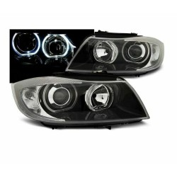 FARI ANTERIORI ANGEL EYES LED NERI per BMW E90 / E91 03.05-11