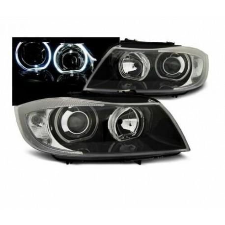 FARI ANTERIORI ANGEL EYES LED NERI per BMW E90 / E91 03.05-11