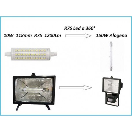 Lampada led r7s lineare 118mm 10w for Lampada alogena lineare led