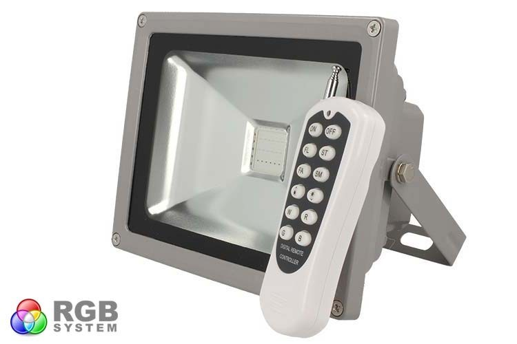 Proiettore faro led rgb cob w esterno ip telecomando