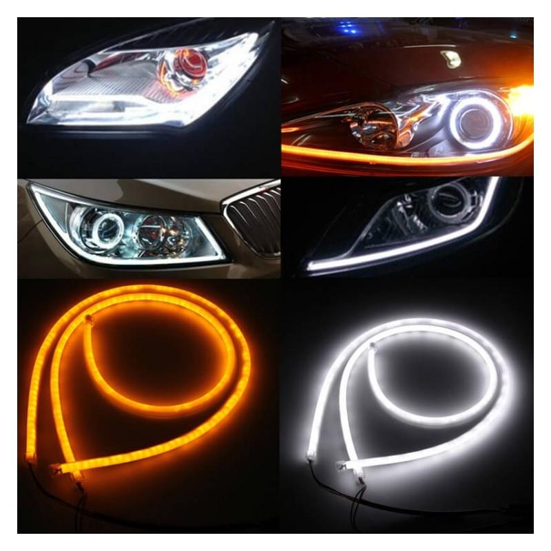 Strisce Led Per Auto Interni.Kit Tubo Neon Strip Led Auto 60cm Bicolore