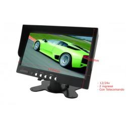 Monitor TFT 7 Pollice 4 Schermi e Ingressi Video 12V Auto Furgone 24V Camion Tir Telecomando Incluso