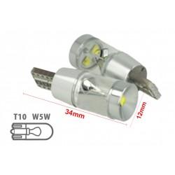 Lampada Led T10 W5W 12V 9W Canbus Pro 3 Cree XBD Da 3W Con Cono Riflettore Bianco No Errore