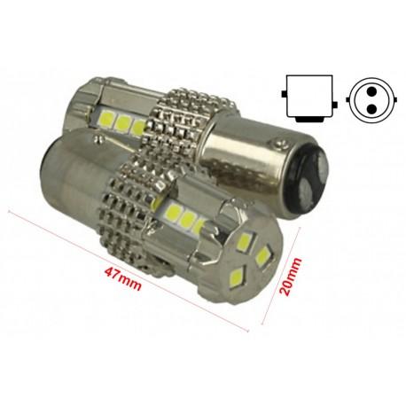 Lampada Led BAY15D 1157 P21/5W 12V 45W Bianco Super Potente Luminoso Doppio Filamento