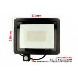 Faro Led Flood Light Slim 100W Con Sensore Movimento PIR