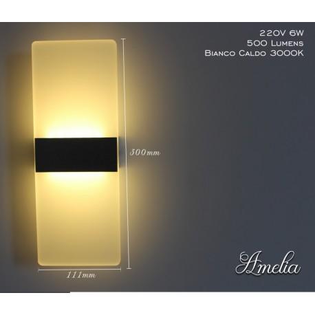 Applique Led Da Parete Modello Amelia Italian Design Moderna 6W Bianco Caldo
