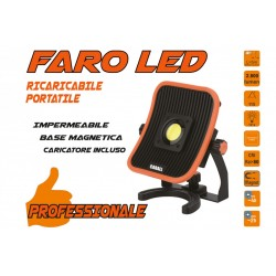 Faro Proiettore Led Flood Professionale 30W Ricaricabile