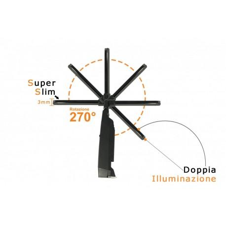 Lampada Led Officina Torcia Ricaricabile Pieghevole Snodabile Slim 9mm