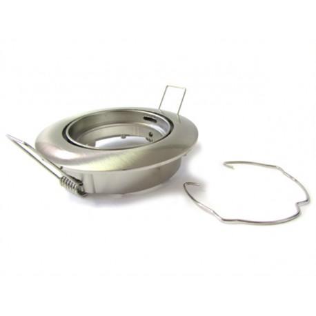 Porta Faretto Led GU10 MR16 Orientabile Rotondo Con Molla Satinato