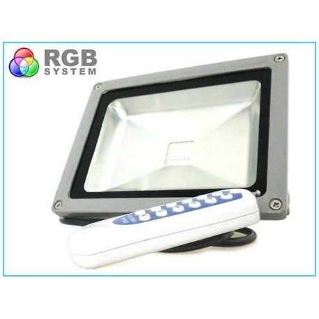 Proiettore Faro Led RGB COB 50W Esterno IP65 Con Telecomando Wireless RF