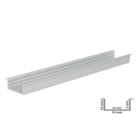 Profilo Canalina Barra Alluminio Larga Da Incasso Per Striscia Led Fino A 20mm 1 Metro