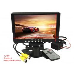Monitor TFT 7 Pollici 2 Ingressi Video Audio Per Telecamera 12V Auto Camper 24V Camion Con Telecomando