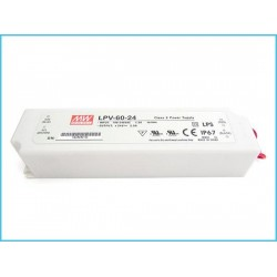 Alimentatore Trasformatore MeanWell Impermeabile IP67 24V 60W 2,5A LPV-60-24