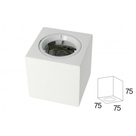 Portafaretto Da Soffitto Quadrato In Gesso Verniciabile Per Lampade GU10 Con Anello In Alluminio Bianco SKU-3666