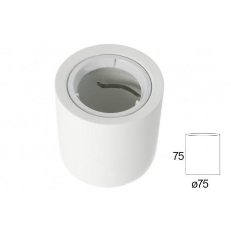 Portafaretto Da Soffitto Rotondo In Gesso Verniciabile Per Lampade GU10 Con Anello In Alluminio Bianco SKU-3667