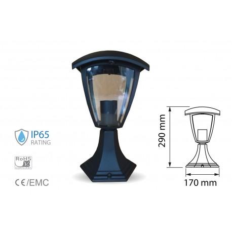 Lampada Da Terra Per Giardino Esterno IP65 Altezza 300mm Attacco E27 Garden Lamp Colore Nero SKU-7057