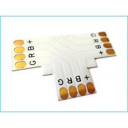 4 Connettore Passo 10mm RGB Forma T per Allungare e Curvare Striscia Led RGB