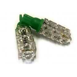 Coppia 2 Lampade Led T10 Con 13 Led F5 Flux Colore Verde Green 12V 2W