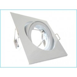 Carcassa Ghiera Bianco Quadrata con Cornice Supporto Porta Faretto Incasso Orientabile